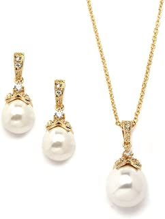 Vintage Ivory Pearl Wedding Necklace & Earrings Bridal Jewelry Set for Brides and Bridesmaids