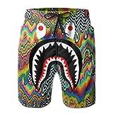 Boys Big & Tall Breathable Swim Trunks for Beach, Gym, Workout - Abstract Graffiti Paint Bape. Shark Teeth Logo Elastic Waistband Board Shorts Hip-Pop Fast Dry Drawstring Beachwear