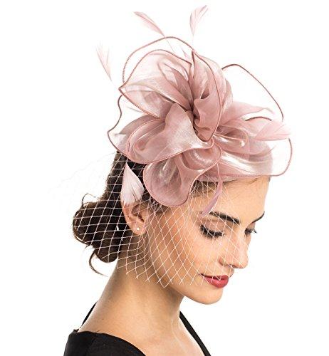 Tocado de malla con plumas y velo de rejilla, tocado para fiestas, sombreros de Ascot, sombreros de flores para las carreras de caballos, con pinza y diadema, para mujer