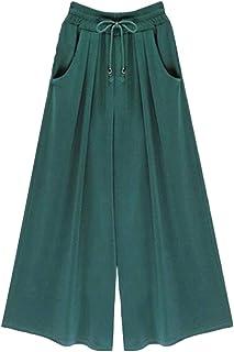 CRYYU Women's Solid Color Ankle Cotton Harem Plus Size Elastic Waist Wide Leg Palazzo Pants