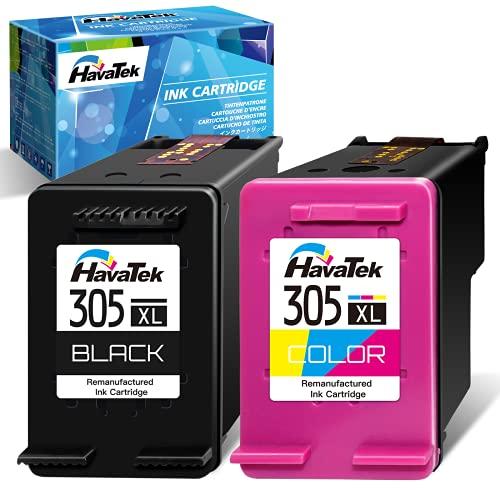 HavaTek Remanufacturados 305 305XL Multipack Cartuchos de tinta para HP 305 XL 305XL para HP DeskJet 2710 2720 2722 DeskJet Plus 4100 4130 Envy 6032 6020 Envy Pro 6430 6420 Impresoras(Negro Tricolor)