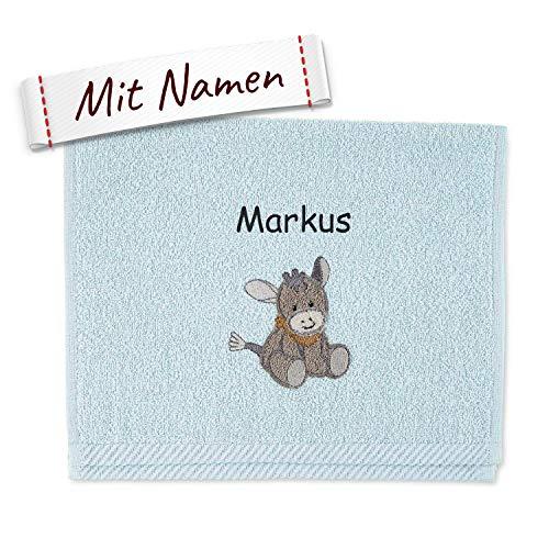 Sterntaler Kinder/Baby Handtuch bestickt mit Namen, Emmi Kinderhandtuch personalisiert, Junge, Esel Hellblau