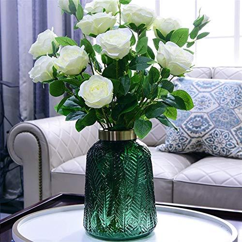 HaoLi Florero de Cristal Verde Oscuro Vintage Decoración del hogar Macetas Artesanías Figuras Plantas para el hogar Soporte para Escritorio Decoración (Color: Gris S)