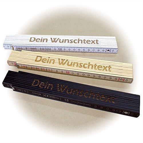 Holz-Gliedermaßstab/Zollstock WEISS mit Lasergravur (2 Meter, einseitig beschriftet)