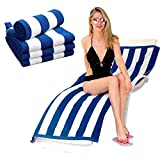 <span class='highlight'>HANSON</span> <span class='highlight'>AND</span> <span class='highlight'>LANGFORD</span> Beach Towel Cabana Blue & White Stripe Towels 100% Cotton Lightweight Chlorine Resistant Pool Towel Perfect Towelling Fabric For Sun Lounger, Bath Towels, Beach, Gym (Pack of 4)