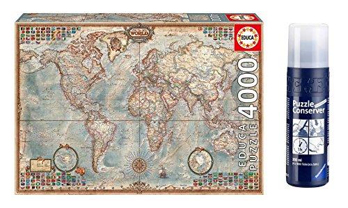 Outletdelocio. Educa 14827. Puzzle 4000 Piezas. El Mundo Mapa Politico + Pegamento Puzzle. 58975/64553