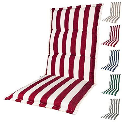 KOPU® Auflage für Hochlehner Mila Red | Polster für Gartenstühle | Rot Garten Kissen 125 x 50 cm | 5 Gestreifte Robuster Schaumstoff für zusätzlichen Komfort