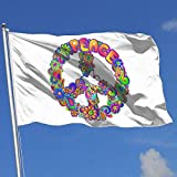 dfjdfjdjf Flagge/Fahne Hippie Flower Power Peace Sign 3x5 Foot Flag Outdoor Flags 100% Single-Layer Translucent Polyester 3x5 Ft