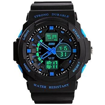 Fanmis Men s Women s Multi-function Cool S-shock Sports Watch LED Analog Digital Waterproof Alarm - Blue