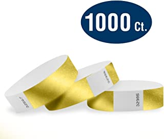 """WristCo Deep Metallic Gold 3/4"""" Tyvek Wristbands - 1000 Pack Paper Wristbands for Events"""