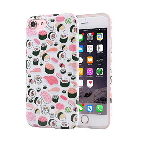 ZQ-Link Cover iPhone 7,Cover iPhone 8, Silicone Custodia Trasparente Morbida Case [Ultra Sottile] Flessibile TPU Custodia Cover con Disegni per iPhone 7/iPhone 8 -Sushi Love