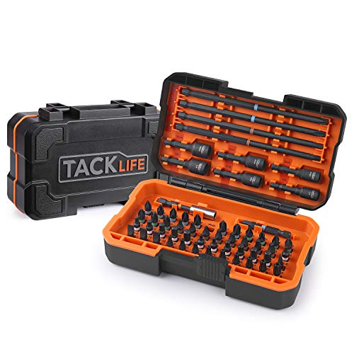 TACKLIFE 60Pcs Screwdriver Bit Set with Nut Drivers, Impact Ready, 52 Screwdriver Bits, 6 Nut Driver Bits, 1 Magnet Bit Holder and 1 Torsion-Bit, S2 Alloy Steel w/Solid Case