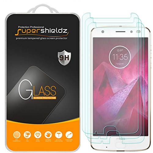 (3 Pack) Supershieldz Designed for Motorola (Moto Z2 Force) Edition, and Moto Z Force Edition (2nd Gen) Tempered Glass Screen Protector, Anti Scratch, Bubble Free