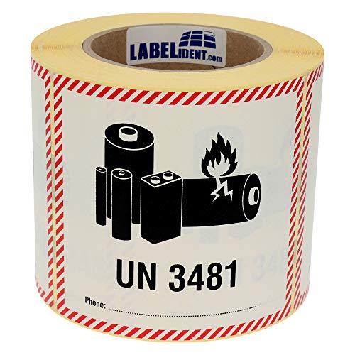 Labelident Transportaufkleber - enthält Lithium Ionen Batterien UN 3481-120 x 110 mm - 500 Verpackungskennzeichen auf 76 mm (3 Zoll) Rolle, Papier selbstklebend