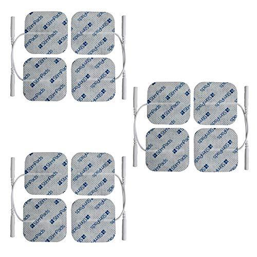 StimPads, 40X40mm, ECO-PACK de 12 unidades de alto rendimiento, electrodos TENS - EMS de larga duración con conector universal tipo pin de 2mm