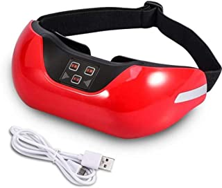 アイマッサージャー、ワイヤレス3D充電式グリーンアイリカバリービジョン電動マッサージャー、修復ビジョンマッサージャー、アイケアツールは血液循環を促進し、疲労を和らげます (Color : Red)