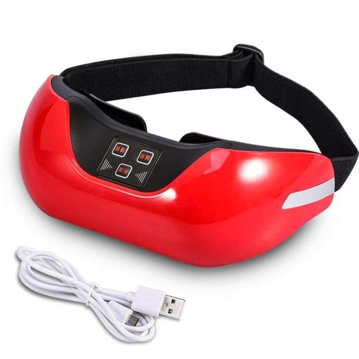 異常東方唯物論アイマッサージャー、ワイヤレス3D充電式グリーンアイリカバリービジョン電動マッサージャー、修復ビジョンマッサージャー、アイケアツールは血液循環を促進し、疲労を和らげます (Color : Red)