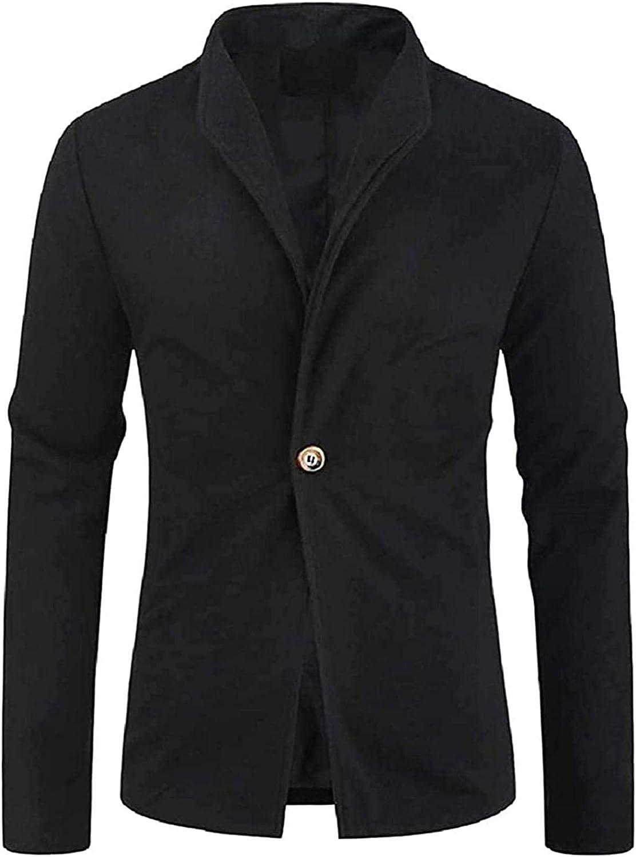 Mens Slim Fit Fashion One-Button Wool Blend Blazer Jacket