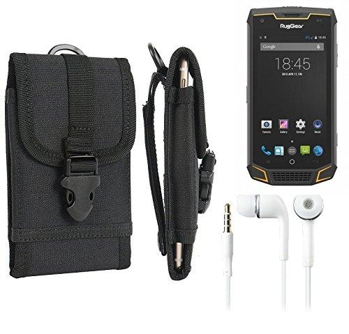 K-S-Trade® Schutzhülle Für Ruggear RG740 Gürteltasche Handyhülle Schutz Hülle Gürtel Tasche Handy Tasche Outdoor Seitentasche Schwarz 1x + Kopfhörer