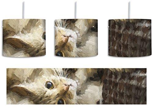 Katze streckt sich XXL riesigeer fertig gerahmt mit Keilrahmen Kunstdruck auf Wandbild mit Rahmen guenstiger als Gemaelde oder kein Poster oder Plakat inkl. Lampenfassung E27, Lampe mit Motivdruck, tolle Deckenlampe, Hängelampe, Pendelleuchte - Durchmesser 30cm - Dekoration mit Licht ideal für Wohnzimmer, Kinderzimmer, Schlafzimmer