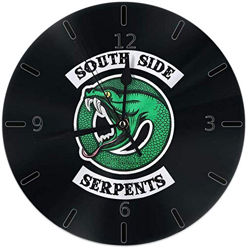 Kncsru Wanduhr Silent Non Ticking Round Wanduhren, Riverdale Serpents Southside Uhren Batteriebetriebene Quarz Analog Quiet Tischuhr