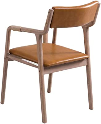 Oak Retro Dining Chair with Backrest and Hemp Woven Armrests, Casual Leather Pad Chair Coffee Chair Desk Chair Japanese Style (Color : Orange)
