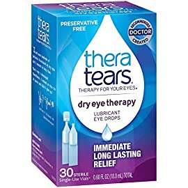 TheraTears Eye Drops for Dry Eyes, Dry Eye Therapy Lubricant Eyedrops, Preservative Free, 30 Count Single-Use Vials 5 TheraTears Dry Eye Therapy- Lubricant Eye Drops- Preservative Free provides immediate, long lasting relief of dry eye symptoms Restores Eyes Natural Balance Unique hypotonic and electrolyte balanced formula replicates healthy tears