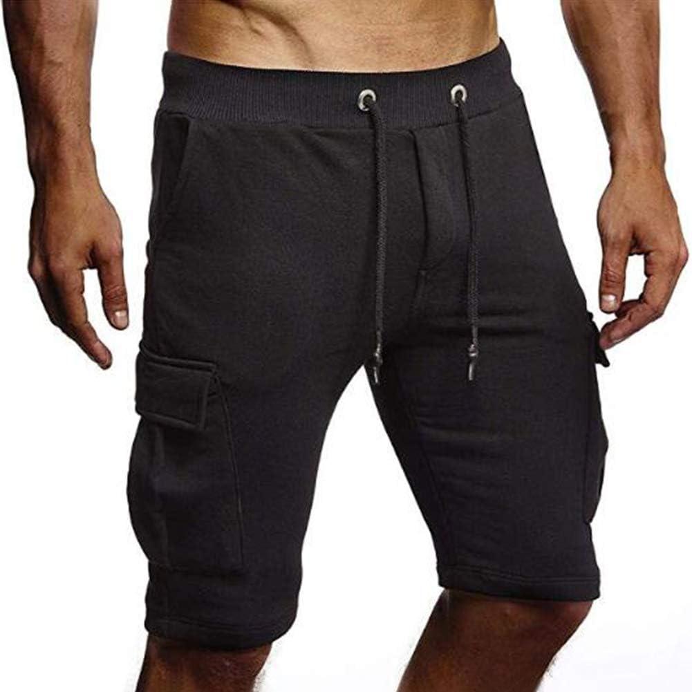 Uni Clau Athletic Mens Cargo Shorts Gym Workout Elastic Waist Cotton Sweat Shorts Sweatpants Shorts with Pockets