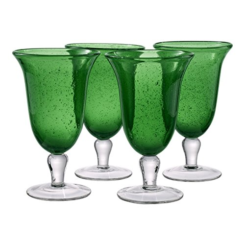 Artland Iris Footed Ice Tea Glass, Set of 4, 18 oz, Green