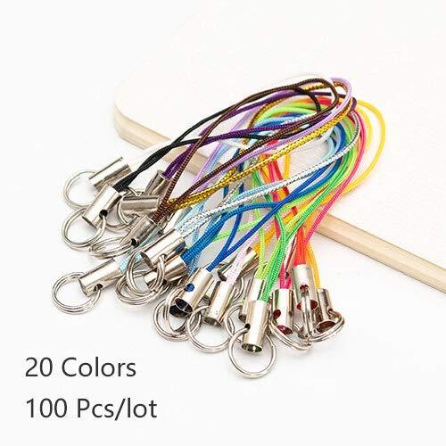 QWERTYU LIFUQIANGME 100 Stück Kleur Polyester Dubbele Ring Lanyard Sieraden Lanyard-Handy Met Craft Aufhänger DIY Handgemaakte Materialen (Color : 20 Color Mix)