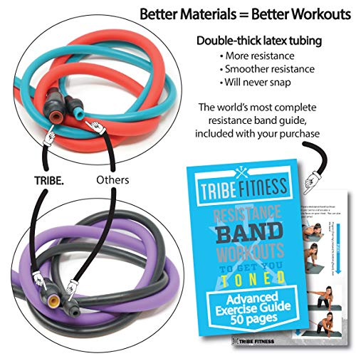 Tribe 11PC Premium Resistance Bands Set, Workout Bands - with Door Anchor, Handles and Ankle Straps - Stackable Up To 105 lbs - For Resistance Training, Physical Therapy, Home Workouts, Yoga, Pilates