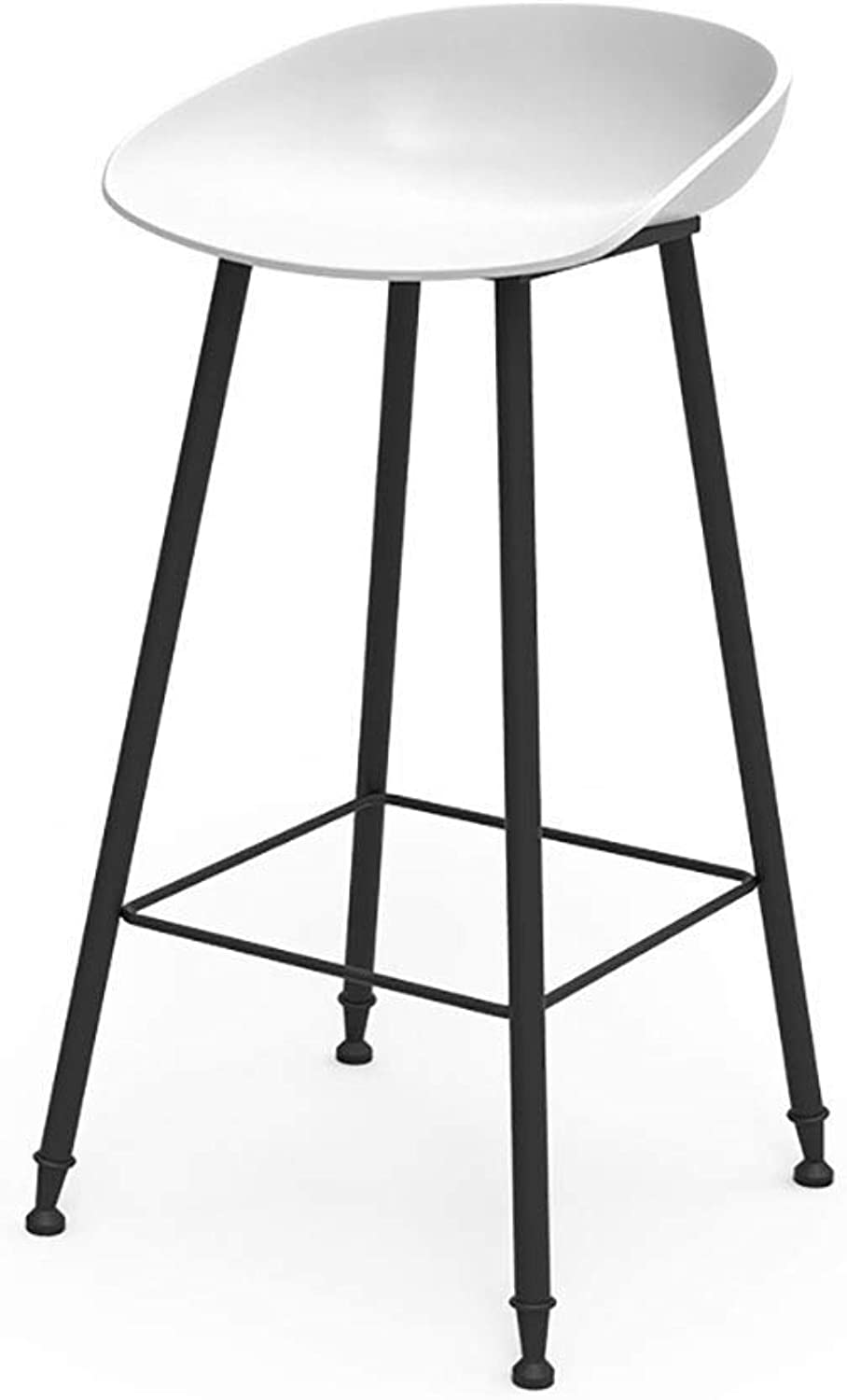 Contemporary Bar Stool Fixed Height Matte Resin Seat with gold Metal Legs, Office Coffee House Home Restaurant LEBAO (Size   White)