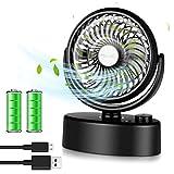 ELZO Ventilatore da Tavolo Oscillante, Mini Ventole di Raffreddamento Personali 4800mA Batteria Ricaricabile& USB Alimentato, 70° Oscillazione, Ventilatore Portatile per Casa Ufficio Viaggi Campeggio