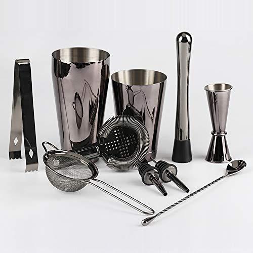 ZRXRY 10 Stück Black Bar Set Cocktail Shaker Set, 2 Gewichteter Shaker Tins, Premium-Barmixer-Kit für Drink Mischen zu Hause, Bar Werkzeuge