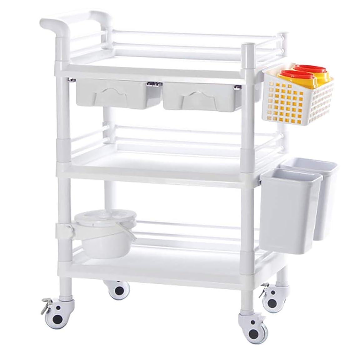 監査取り除く完全に美容院のトロリー、器械のトロリー三層用具のカートの医学のトロリー棚、65 * 45 * 98cm