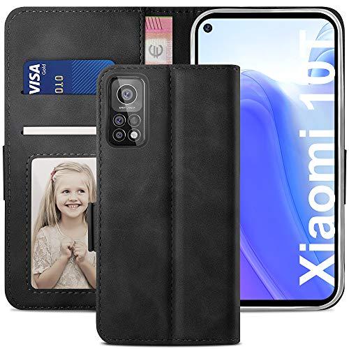 YATWIN Handyhülle Xiaomi Mi 10T 5G Hülle, Klapphülle Xiaomi Mi 10T Pro 5G Premium Leder Brieftasche Schutzhülle [Kartenfach] [Magnet] [Stand] Handytasche Hülle für Xiaomi 10T/10T Pro, Schwarz