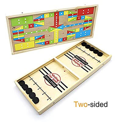 DE Slingshot Table Hockey Party Game, Bouncing Chess Hockey Game, Table Desktop Battle 2 in 1 Ice Hockey Game, Winner Board Games Toys for Parent-Child