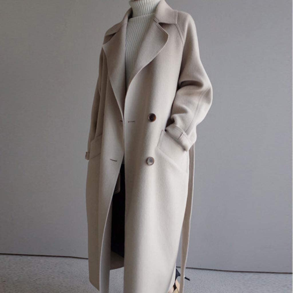 Smoxx Women's Double Breasted Belted Pocket Trench Coat,Oversize Lapel Cashmere Wool Blend Belt Outwear Jacket