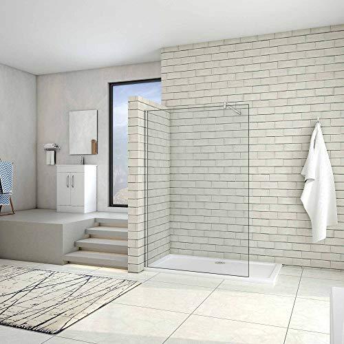 AICA paroi de douche 100x200cm douche à l'italienne en 10mm verre anticalcaire et securit avec une barre de fixation carrée 90cm