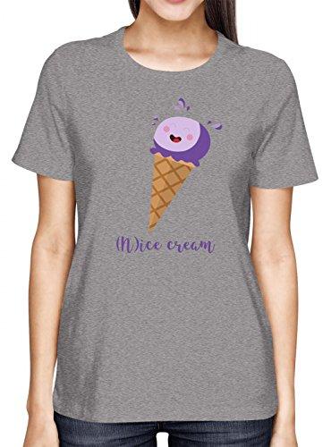 (N) Ice Cream #1 Premium T-Shirt | EIS | Sommer | Eiscreme | Frauen | Shirt, Farbe:Graumeliert (Grey Melange L191);Größe:L