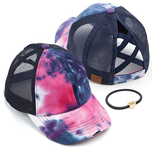 C.C Exclusives Washed Distressed Cotton Denim Criss-Cross Ponytail Hat Baseball Cap Bundle Hair Tie (BT-924) (A Elastic Band-Tie-Dye Navy with Mesh)
