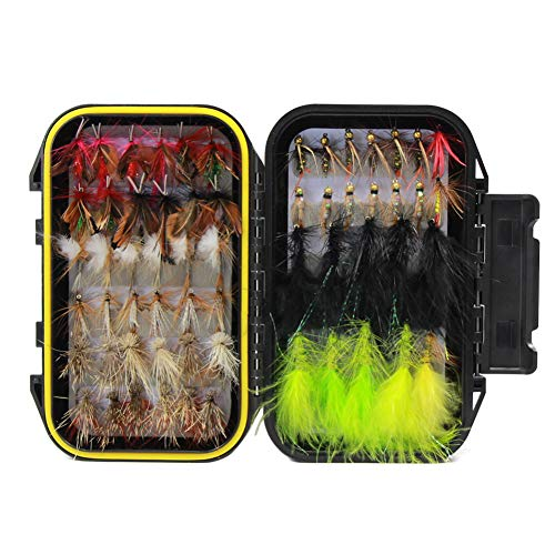 Croch 60pcs Fly Fishing Dry Flies Wet Flies Assortment Kit with Waterproof Fly Box for Trout Fishing