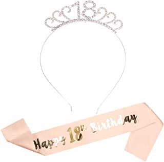 Rzctukltd Birthday Headband and Satin Sash Set for Women, Rose Gold Rhinestone Crown Tiara Birthday Party Supplies [18 Years Old]