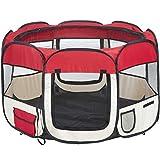 TecTake Parc à Chiots chien grand pliable - diverses couleurs au choix (Rouge)