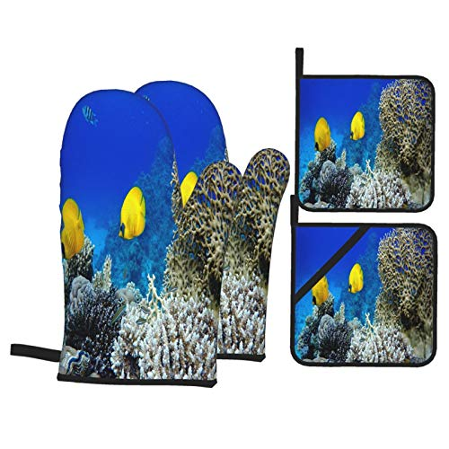 Juego de 4 Guantes y Porta ollas para Horno Resistentes al Calor Buceo Peces Tropicales Arrecifes De Coral Bajo El Agua para Hornear en la Cocina,microondas,Barbacoa