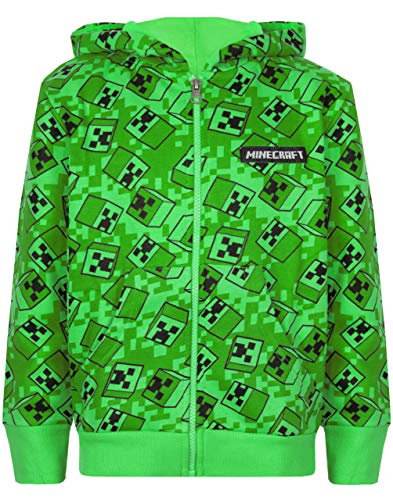 Vanilla Underground Minecraft Creeper All Over Print Boys Green Zip Up Hoodie
