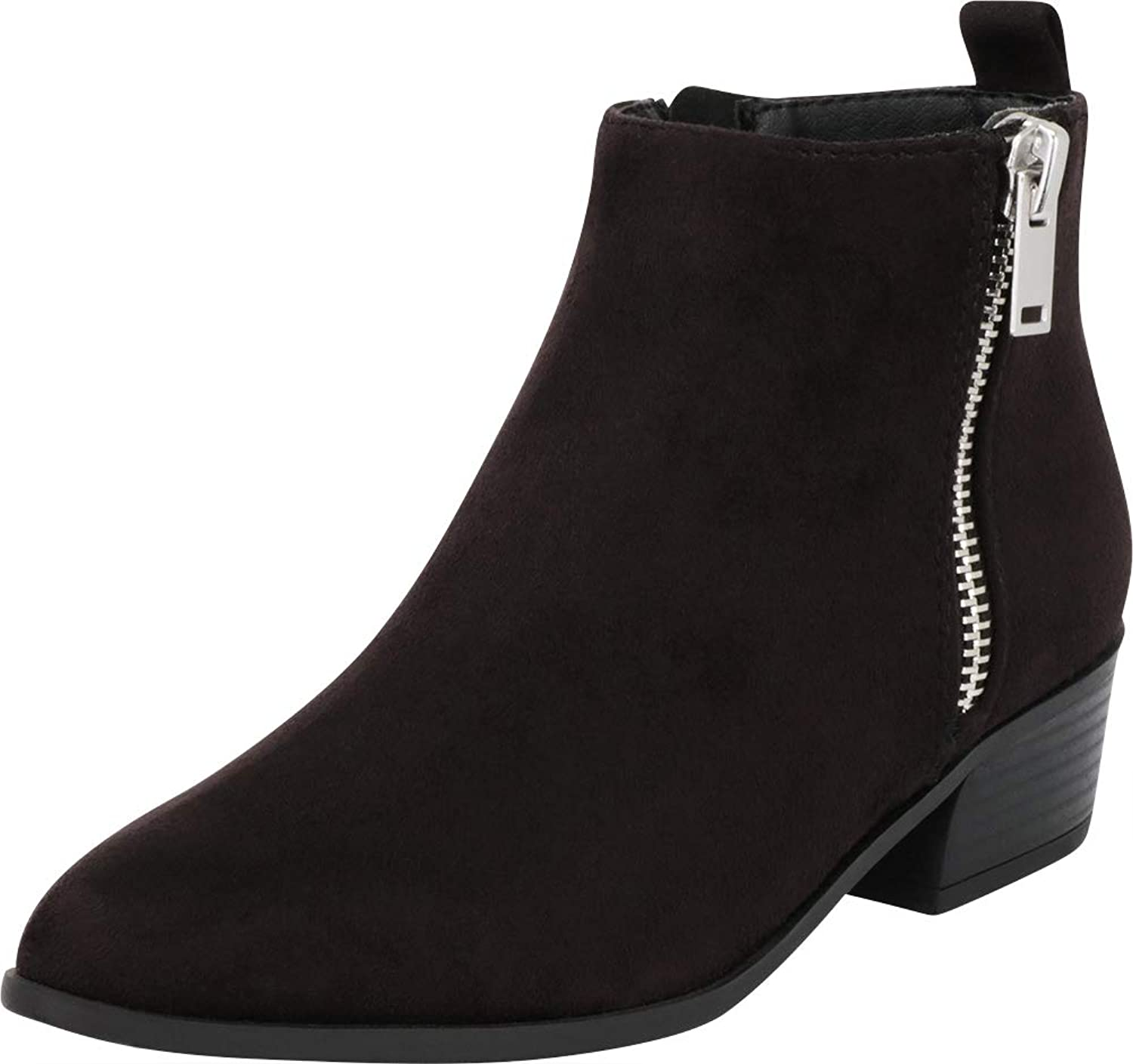 Cambridge Select Women's Pointed Toe Side Zip Chunky Stacked Block Heel Ankle Bootie