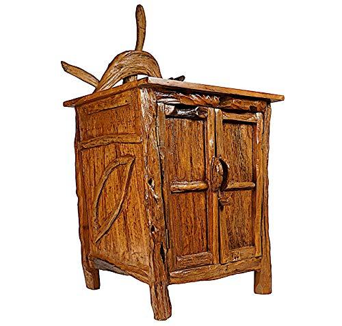 Windalf Hobbit Kommode mit Blätter Sarina h: 126 cm Wohnzimmer Schrank mit 2 Türen Nachtkasten Handarbeit aus Wurzelholz