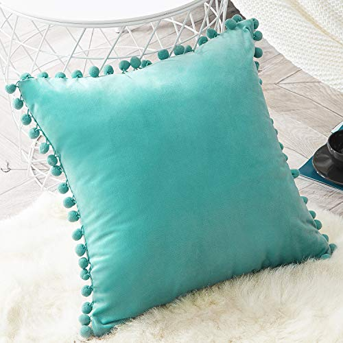 Top Finel Decorative Throw Pillow Covers for Couch Bed Soft Particles Velvet Solid Cushion Covers with Pom-poms, Pack of 1, Teal Green
