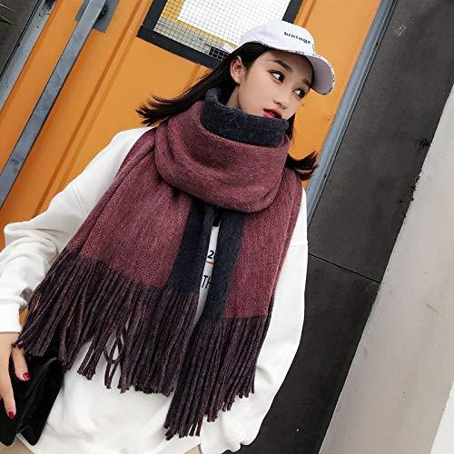 mlpnko Dicker doppelseitiger Langer Schal Studentin Imitation Kaschmir gebürstetem Kragen großen Schal mit doppeltem Verwendungszweck